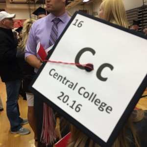 Elemental mortarboard at Central College graduation.