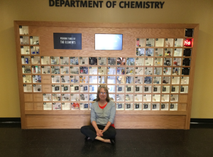 I post insecurely in front of the periodic table display  at the U of Iowa (featuring actual elements).